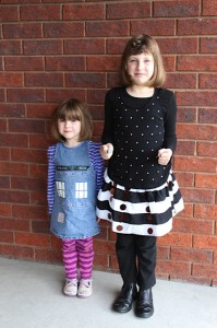Some good Dalek acting there from the daughter on the right. Daughter on the left just working her adorableness as is right and proper for any TARDIS.