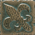 "Metal+Signatures+Fleur+de+Lis+2""+x+2""+Decorative+Tile+in+Aged+Bronze"